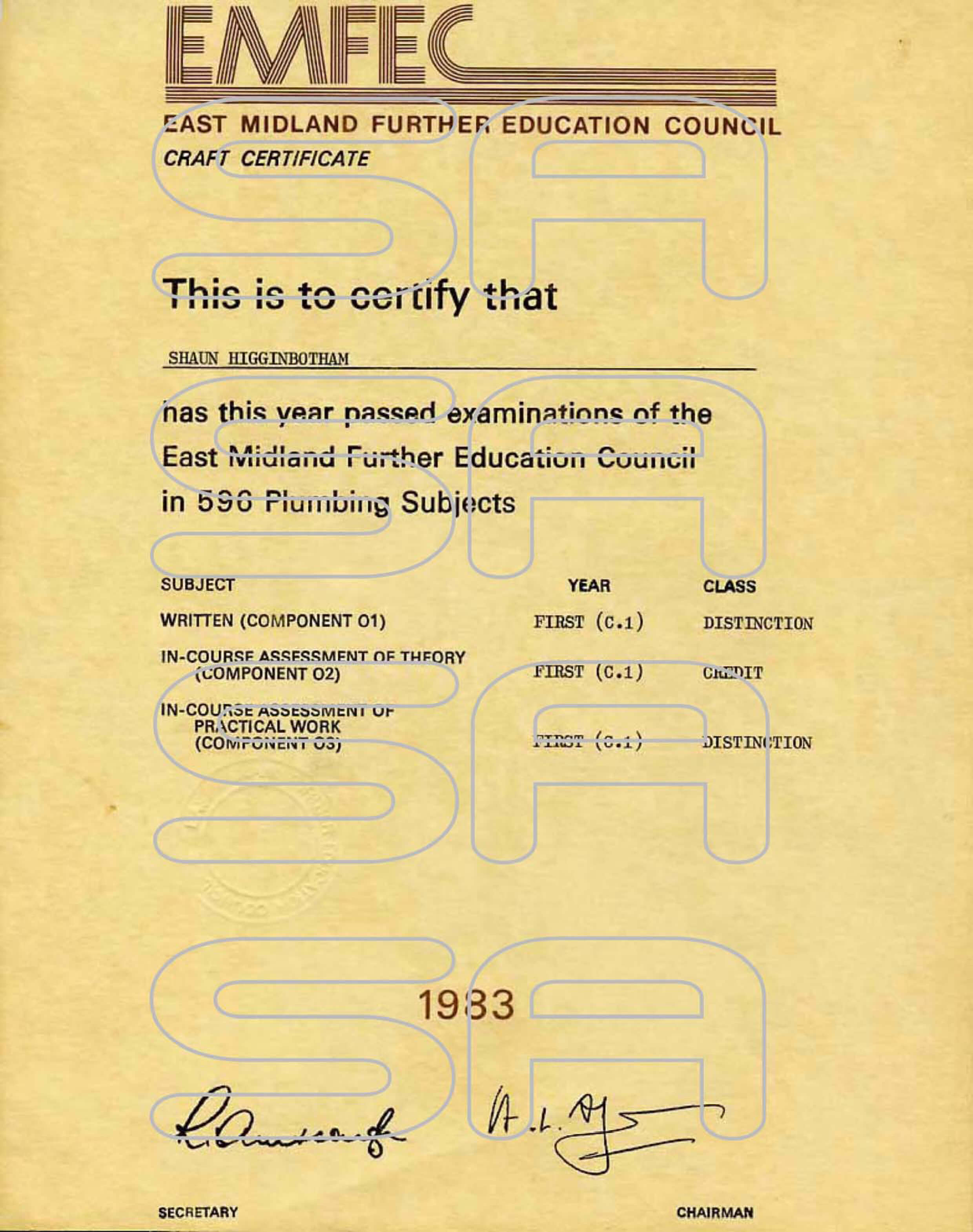 certificate Queniborough